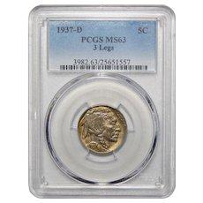1937-D 3 Legs Pcgs MS63 Buffalo Nickel