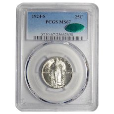 1924-S Pcgs/Cac MS67 Standing Liberty Quarter