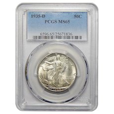 1935-D Pcgs MS65 Walking Liberty Half Dollar