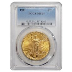 1911 Pcgs MS64 $20 St. Gaudens Gold
