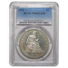 1871 Pcgs PR64CAM Liberty Seated Dollar