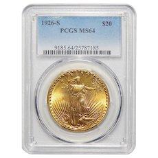 1926-S Pcgs MS64 $20 St. Gaudens Gold