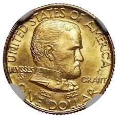 1922 Ngc/Cac MS65 $1 Gold Grant, With Star