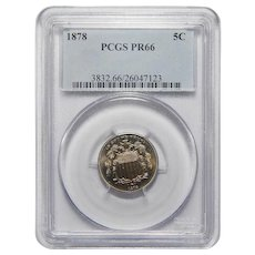 1878 Pcgs PR66 Shield Nickel