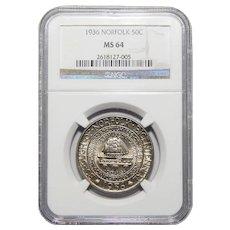 1936 Ngc MS64 Norfolk Half Dollar
