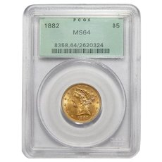 1882 Pcgs MS64 $5 Indian Gold