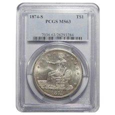 1874-S Pcgs MS63 Trade Dollar