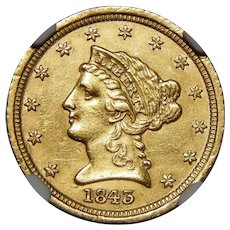 1843-D Ngc Unc. Details, Harshly Cleaned $2.50 Small D Liberty Head Gold