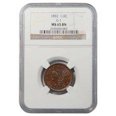 1853 NGC MS65BN Braided Hair Half Cent