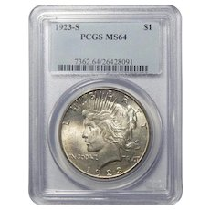 1923-S Pcgs MS64 Peace Dollar