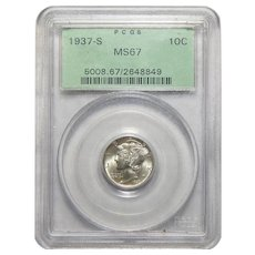 1937-S Pcgs MS67 Mercury Dime