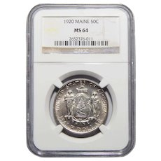 1920 Ngc MS64 Maine Half Dollar
