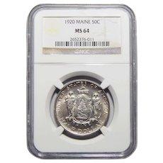 1920 Ngc MS64 Maine Half Dollar