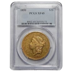 1850 Pcgs XF45 $20 Liberty Head Gold