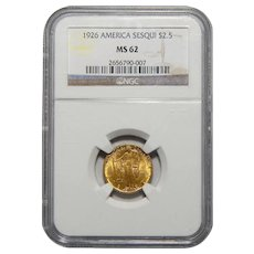 1926 Ngc MS62 $2.50 Sesquicentennial Gold