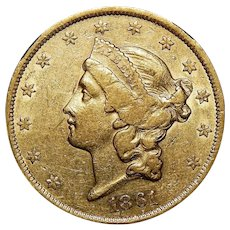 1861 Ngc XF40 $20 Liberty Head Gold