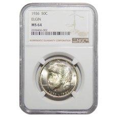 1936 Ngc MS64 Elgin Half Dollar