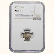 1853 Ngc MS64 Three Cent Silver