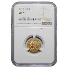 1914 Ngc MS61 $2.50 Indian Gold