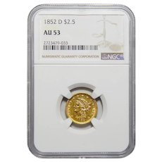 1852-D Ngc AU53 $2.50 Liberty Head Gold