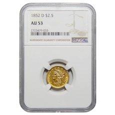 1852-D Ngc AU53 $2.50 Liberty Head Gold