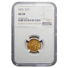 1853 Ngc AU58 $2.50 Liberty Head Gold