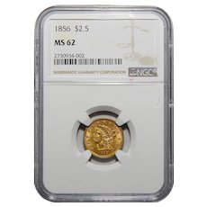 1856 Ngc MS62 $2.50 Liberty Head Gold