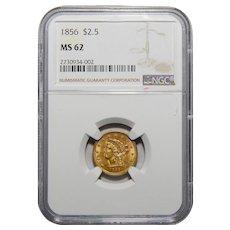 1856 Ngc MS62 $2.50 Liberty Head Gold