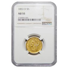 1853-D Ngc AU55 $5 Large D Liberty Head Gold