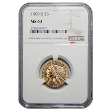1909-D Ngc MS63 $5 Indian Gold