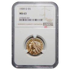 1909-D Ngc MS63 $5 Indian Gold