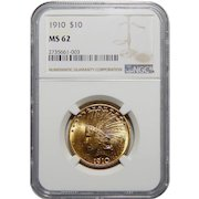 1910 Ngc MS62 $10 Indian Gold
