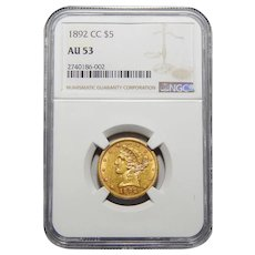 1892-CC Ngc AU53 $5 Liberty Head Gold