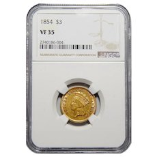 1854 Ngc VF35 Three Dollar Gold