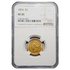 1854 Ngc VF35 Three Dollar Gold