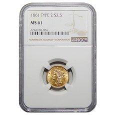 1861 Ngc MS61 $2.50 Tyoe-2 Liberty Head Gold