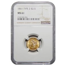 1861 Ngc MS61 $2.50 Tyoe-2 Liberty Head Gold