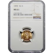 1890 Ngc MS61 $2.50 Liberty Head Gold