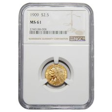 1909 Ngc MS61 $2.50 Indian Gold