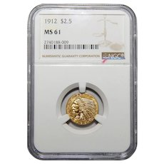 1912 Ngc MS61 $2.50 Indian Gold