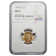 1878-S Ngc MS61 $2.50 Liberty Head Gold