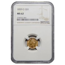 1859-C Ngc MS62 Gold Dollar