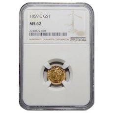 1859-C Ngc MS62 Gold Dollar