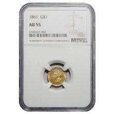 1861 Ngc AU55 Gold Dollar