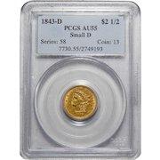 1843-D Pcgs AU55 Small D $2.50 Liberty Head Gold