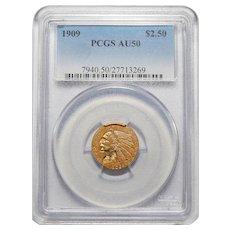 1909 Pcgs AU50 $2.50 Indian Gold