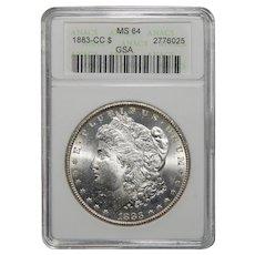 1883-CC Anacs MS64 GSA Hoard Morgan Dollar