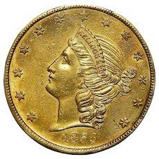 1855 Pcgs Au Details, Genuine - Mount Removed $20 Kellogg California Gold