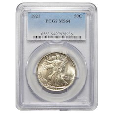 1921 Pcgs MS64 Walking Liberty Half Dollar