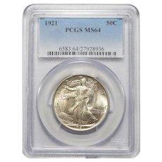 1921 Pcgs MS64 Walking Liberty Half Dollar